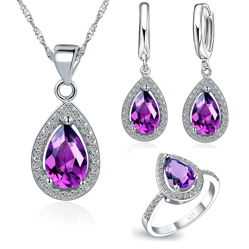 Free Ship Purple Jewelry Sets Water Drop Cubic Zirconia CZ Stone 925 Sterling Silver Color Earrings Necklaces Finger Rings(China)