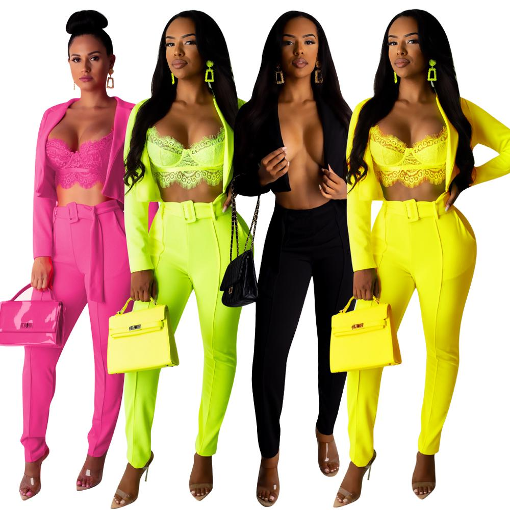 Two Piece Set Women Sexy Women's Suit Casual Long Sleeve Suit Pants 2 Piece Set For Female Two Pieces Sets Casual Women's Suit