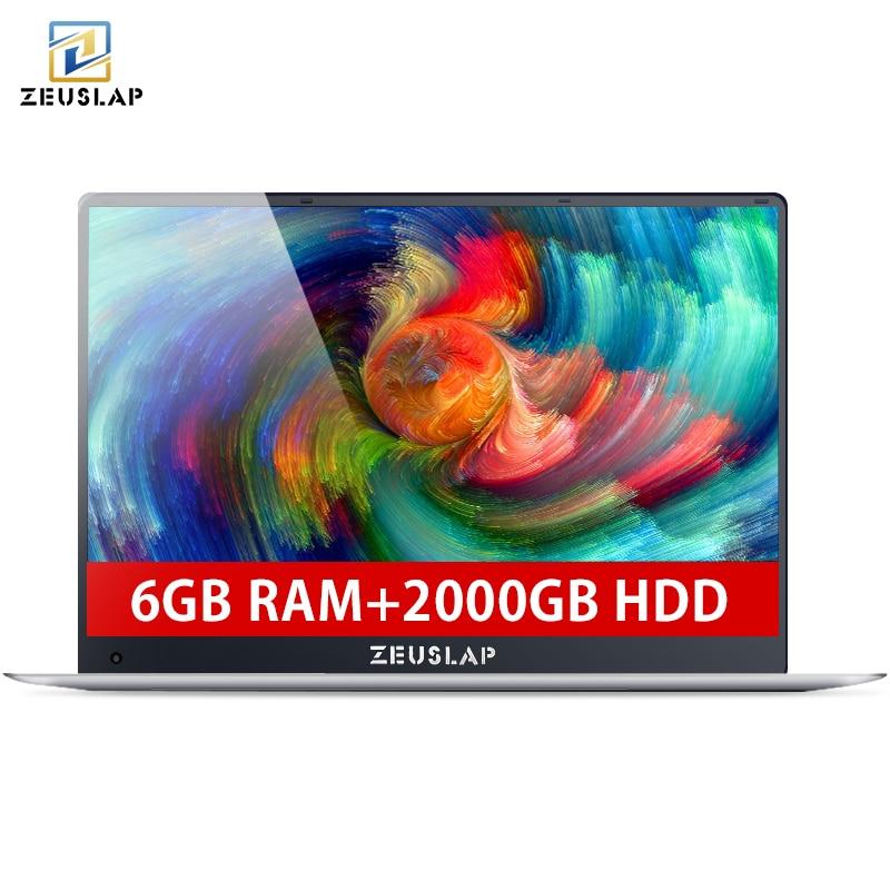 ZEUSLAP 6 gb di Ram + 2 tb HDD da 15.6 pollici 1080 p IPS Schermo Intel Apollo Lago Quad Core CPU finestre 10 Sistema Taccuino Del Computer Portatile Del Computer