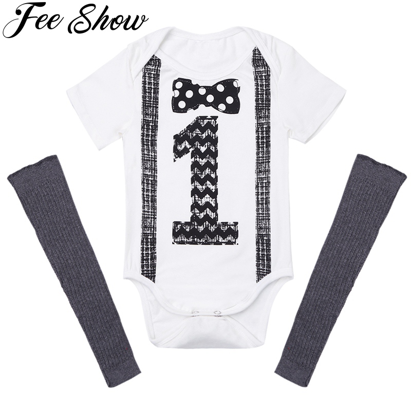 2Pcs9-12Months Infant Baby Boys Outfit Short Sleeves Printed Number ONE First Birthday Romper+Leg Warmers Newborn Baby Boy Set ...