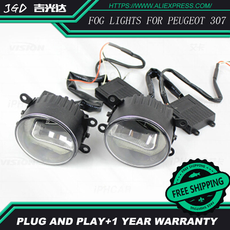 Free Shipping Fog light For Peugeot 307 LR2 2006-2014 Car styling front bumper LED fog Lights high brightness fog lamps 1set car bifocal fog lens for honda cr v accord taiwan product front bumper lights high quality free shipping