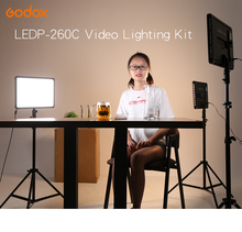 Godox LED Light Kit 3x LEDP-260C 3300-5600K Video Light + Light Stand + Roller Carry Bag