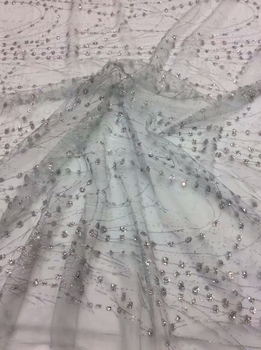 stock 5yards f408 # silver dobby  hand print sparkle glued glitter african tulle mesh lace for sawing/party