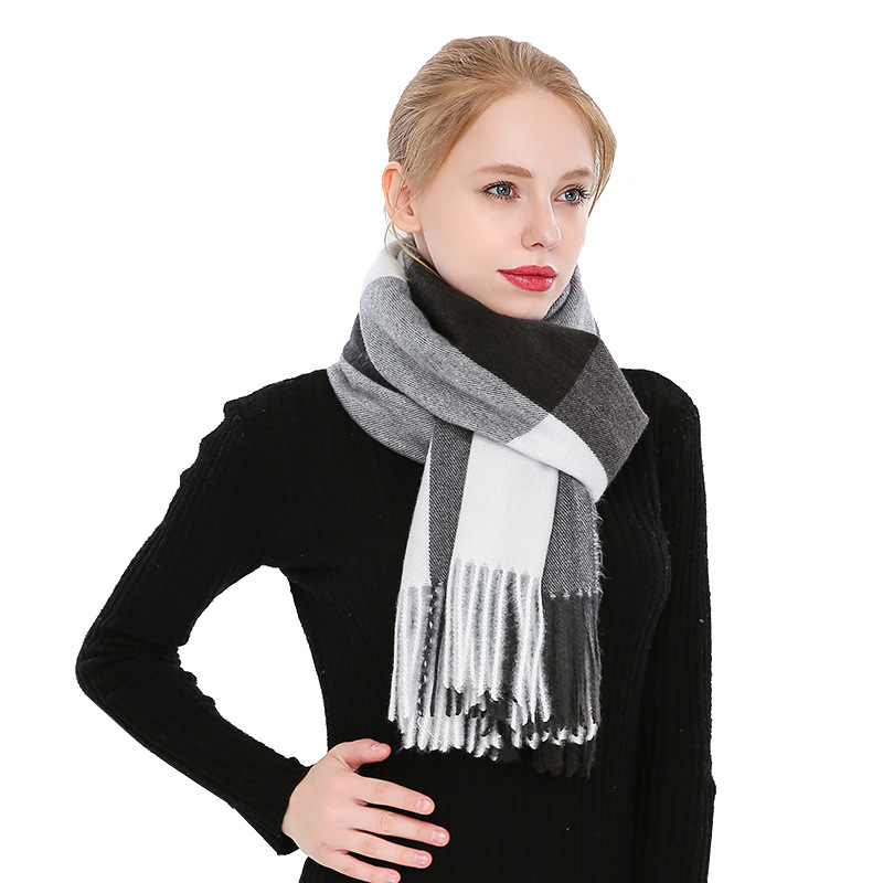 200*70cm Winter Female Wool Plaid Scarf Women Cashmere Scarves Wide Lattice Long Shawl Wrap Blanket Warm Tippet Drop Ship
