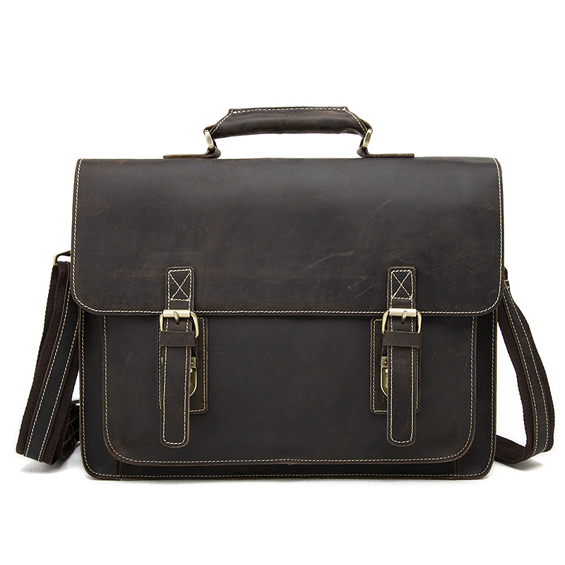 Mad Horse Leather Mens Bag Business Mens Briefcase Retro First Layer Cow Leather Skew Mans Bag Mens 14 Inch Computer HandbagMad Horse Leather Mens Bag Business Mens Briefcase Retro First Layer Cow Leather Skew Mans Bag Mens 14 Inch Computer Handbag