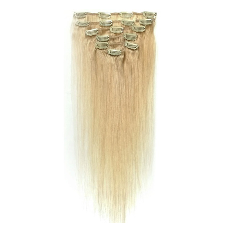 Women Human Hair Clip In Hair Extensions 7pcs 70g 22inch Gold