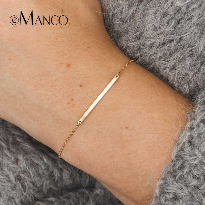 e-Manco Thin Long Stick Bracelets 925 Sterling Silver Geometry Charm Bracelet For Women Fine Jewelry Simple Chain Link Bracelets
