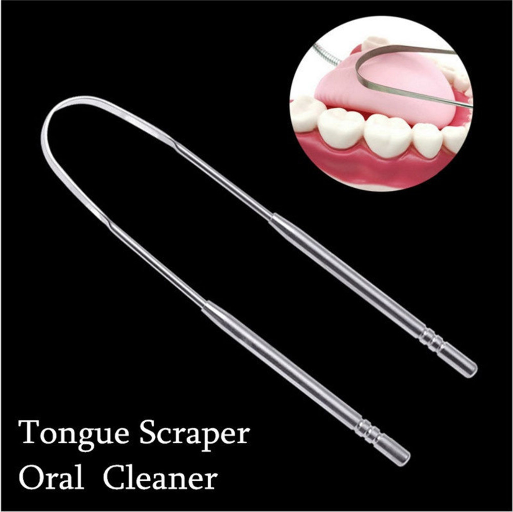 Stainless Steel Tongue Scraper Cleaner Fresh Breath Cleaning Coated Tongue Toothbrush Dental Oral Hygiene Care Tools image