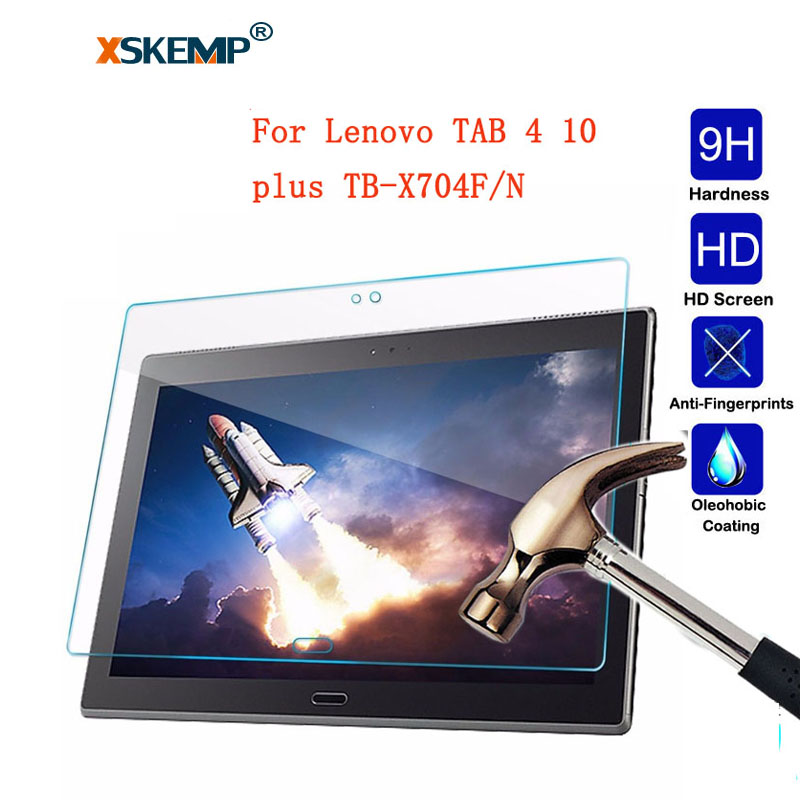 XSKEMP 9H Real Tempered Glass Screen Protector Film For Lenovo TAB 4 10 plus TB-X704F/N Ultra Clear Thin Tablet Protective Guard ultra thin tempered glass clear screen guard protector for sony xperia z3 tablet compact