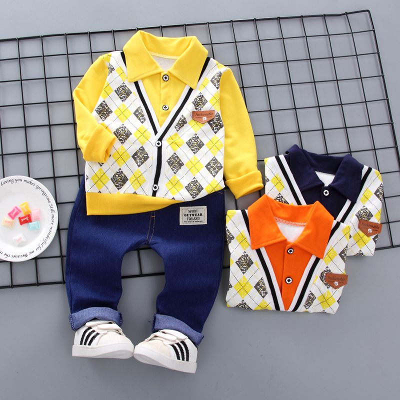 Baby Boy Clothes Cotton Fake 2 Pieces Design Long Sleeve Floral Shirt Tops Denim Pants Trousers Outfits Set in Clothing Sets from Mother Kids