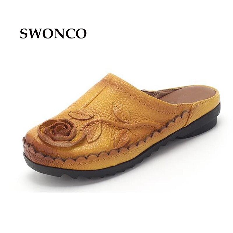 SWONCO chaussons pour femmes chaussures femme à la main en cuir de vache diapositives chaussures d'été femmes 2018 mode fleur pantoufles