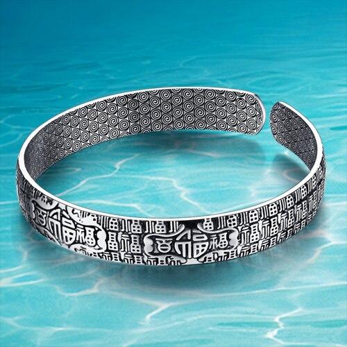 4d460436f297 Thai silver retro fashion men s black bracelet, hundred lucky blessing  diameter 60mm. 925 silver bangle high quality