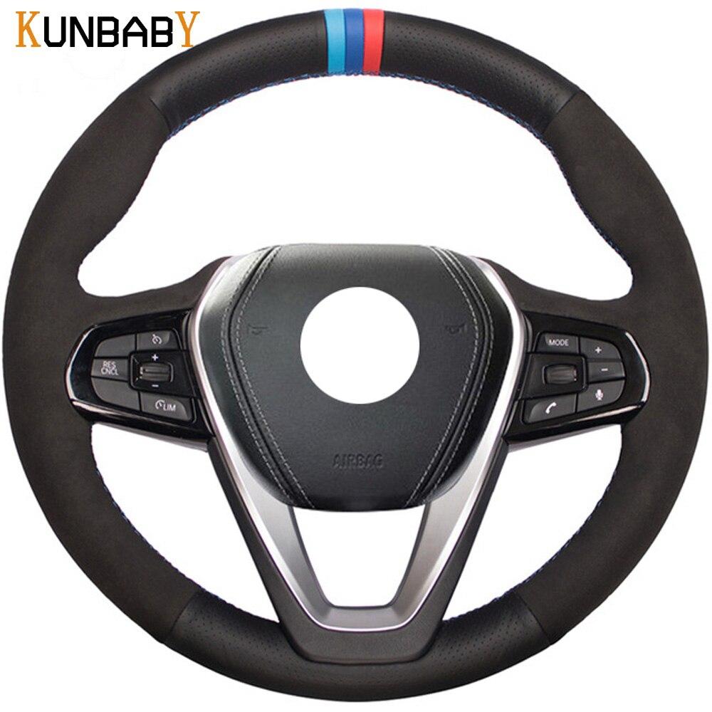 KUNBABY Car le Style Cuir Véritable Couverture De Volant de Voiture pour BMW G30 530i 540i 520d 530e 2016-2018 G32 GT 630i 630d G01 X3