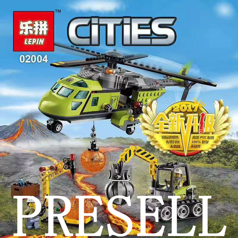 Lepin 02004 City Series Helicopter Volcanic Expedition Blocks Compatible With 60123 Boy assembling DIY toys for Kid lepin 02012 city deepwater exploration vessel 60095 building blocks policeman toys children compatible with lego gift kid sets