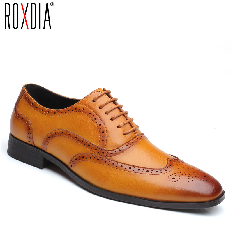 ROXDIA Brand Plus Size 39-48 Men Dress Flats Genuine Leather Formal Business Pointed Toe Wedding Shoes Men's Oxford Flats RXM109