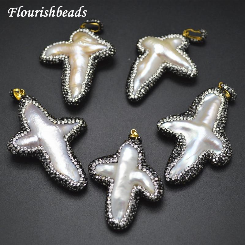 Natural White Fresh Water White Pearl Irregular Cross Pendants Paved Black Glass Beads Fashion Jewelry Accessories
