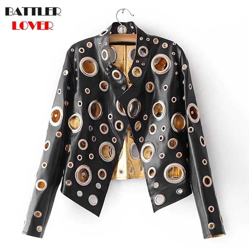 BATTLERLOVER Women Leather Jacket Winter Jacket Women Patched Rivet Luxury Design Hip Hop Biker Jacket jaqueta de couro feminino