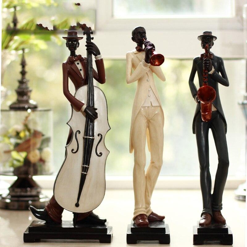 Abstracto la figura europea escultura banda musical decoración sala de estar muebles hogar decoración moderna-in Figuras y miniaturas from Hogar y Mascotas    1
