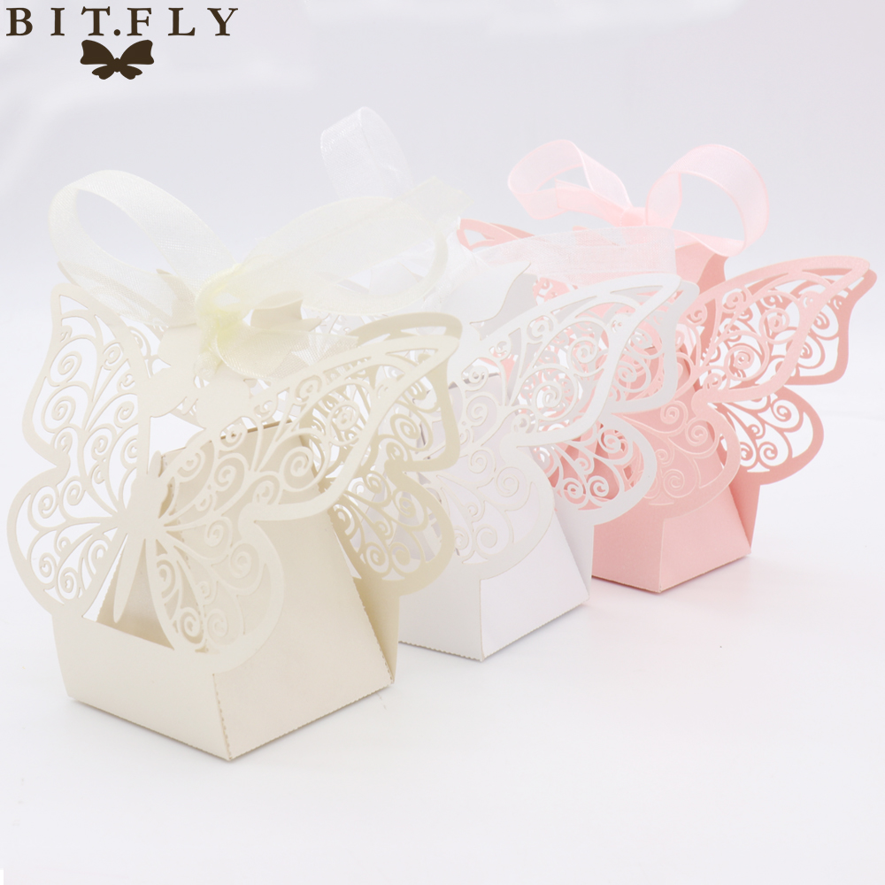 50pcs candy box wedding gift bag paper butterfly for Decoration on a present