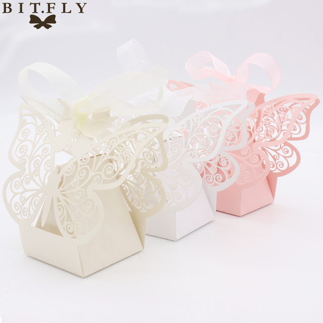50pcs Candy Box Wedding Gift Bag Paper Butterfly Decorations For
