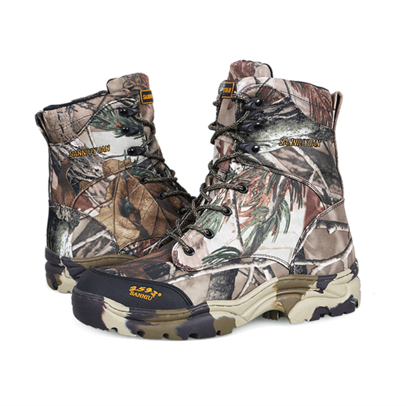 Men outdoor jungle desert hiking waterproof Boots leaf bionic camouflage spring autumn thin training hunting tactical high shoes in Hiking Shoes from Sports Entertainment