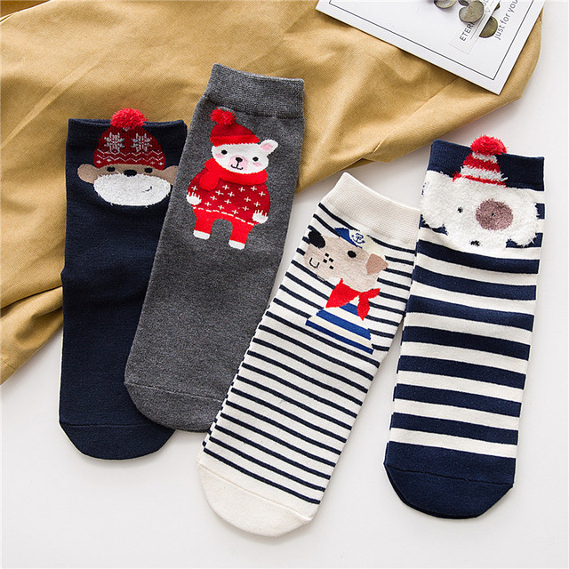 4 Pairs New Arrival Women Christmas Free Shipping Socks Cotton Ankle ...