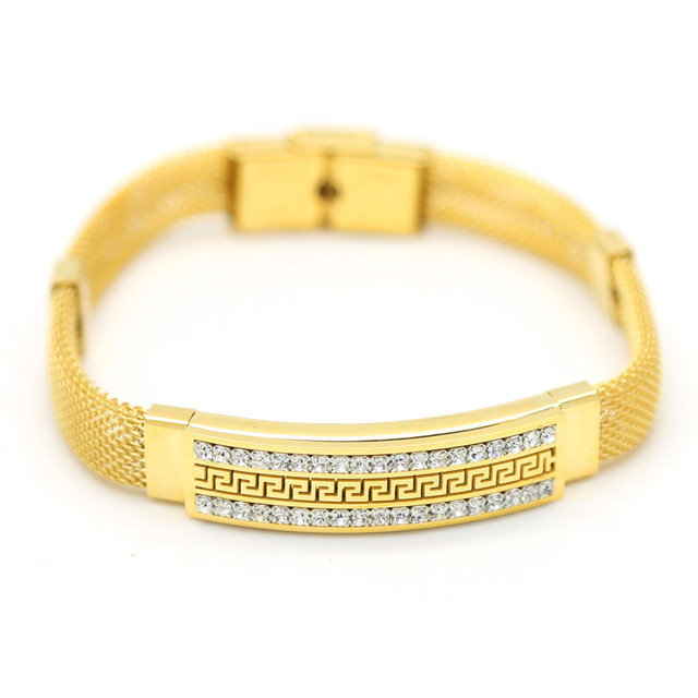2 Row CZ imitated diamond Square bar Bracelet Stainless Steel Gold Plated Back Shaped Pattern Lantern Chain Bracelet