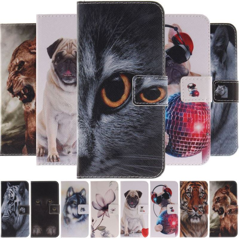 Fall Für <font><b>Samsung</b></font> Galaxy Note 9 8 S9 S8 A6 Plus <font><b>j3</b></font> j5 Prime A3 A5 2017 2016 Abdeckung Painted mysterious Katze Wolf Brieftasche Fall D26G image