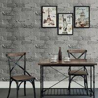 HaokHome Faux Brick Peel And Stick Wallpaper 23 6 X 19 7ft Dk Grey Self Adhesive