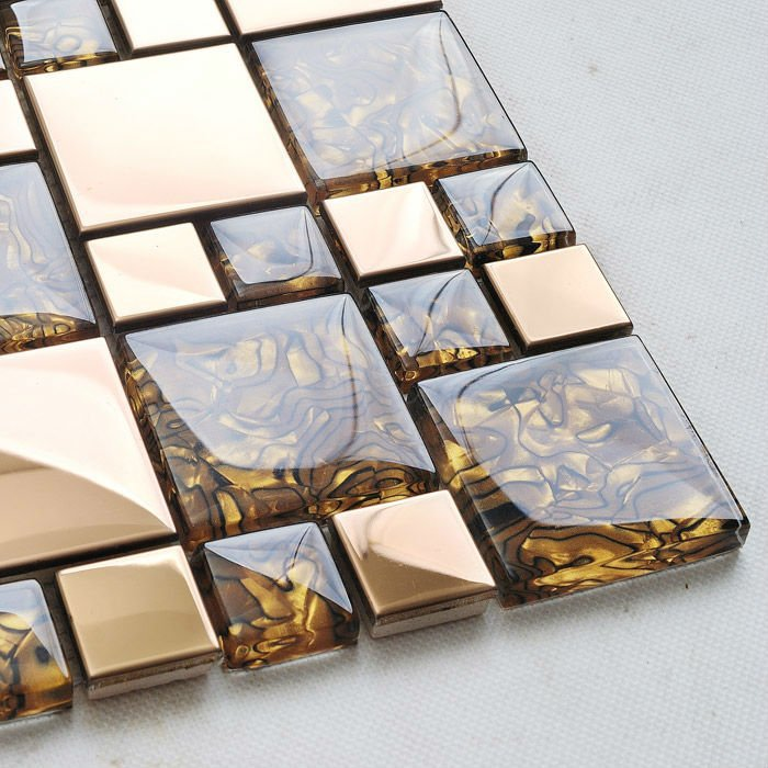 Metal Mosaic Tile Design Art Wholesale Backsplash Tile Walls Glossy