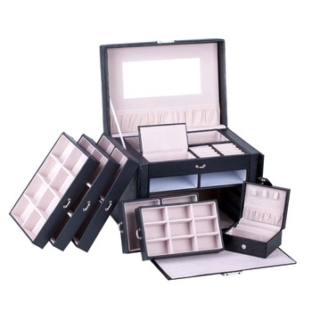 Large Jewelry Box Rings Necklace Packaging Display Lock Organizer Earrings Velvet Holder Storage Boxes Travel