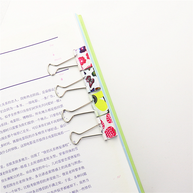 12pcs Small Size 38mm Printed Metal Binder Clips Paper Clip Clamp Office School Binding Supplies Color Random H0061
