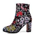 Genuine leather women shoes heels embroidered Square high heel ankle boots Women Winter Boots Booties Botas Indian style TMN26A