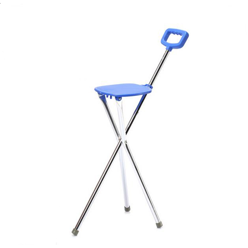 2017 high quality Stick aluminium alloy folding stool type multi-function tripods cane chair cane Help line device hot sales folding cane chair walking stick with tripod stool