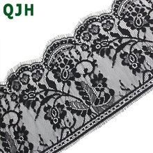3Meters/pcs 18cm width Black Eyelashes Lace Trim Flower Unilateral Wave Lace Fabric Handmade Diy Clothes Accessories Underwear wave lace trim gingham bardot top