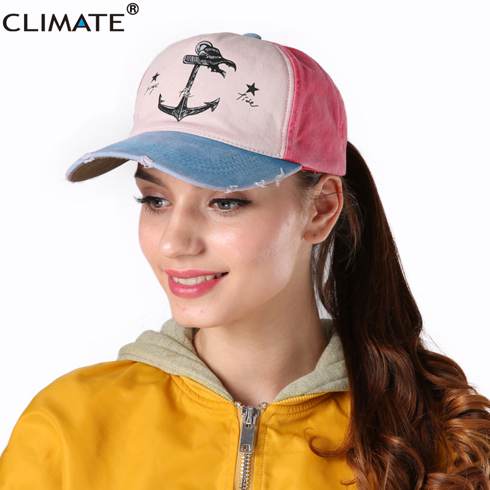 6af93066c0e CLIMATE New Fashion Cool Baseball Caps Contrast Color Trucker Cap Hook Ship  Maritime Anchor Washed otton