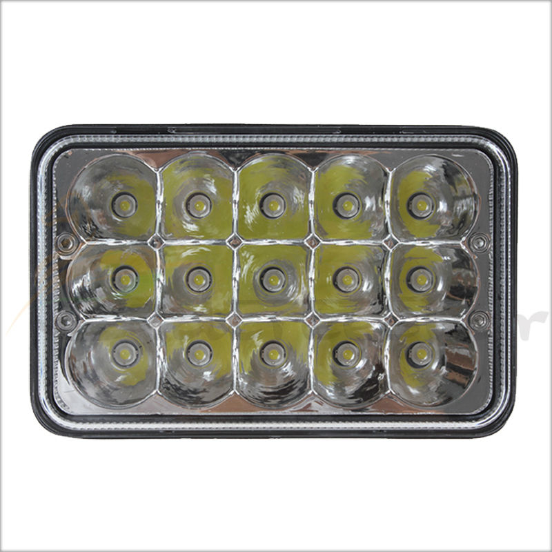 4x6 LED Headlight 15Chips 45W Led Sealed Beam Replacement HID Xenon H4651 H4652 H4656 H4666 H6545 With H4 Plug Clear glass lens