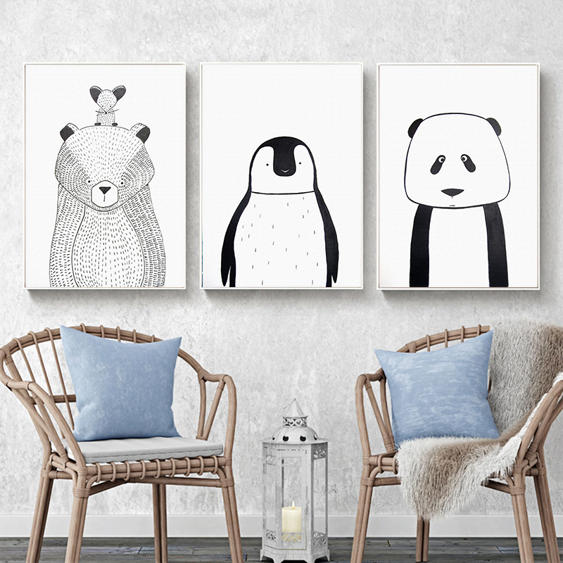 Elegant Poetry Simple Black And White Animal Bear Penguin Canvas Painting Art Print Poster Picture Child Bedroom Home Decor