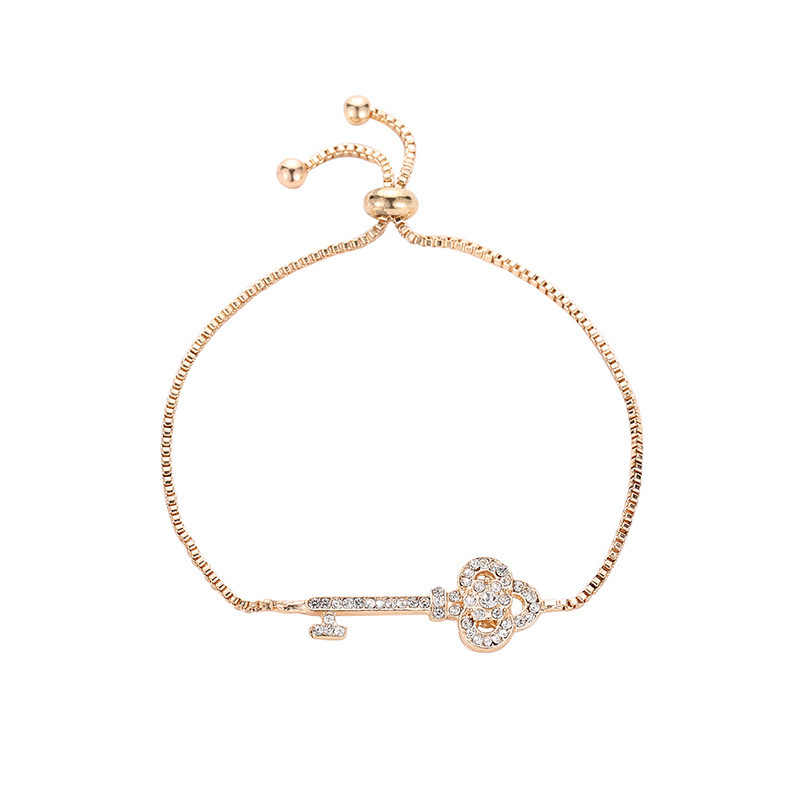 Special Designed Full Shiny Clear Crystal Key Shaped Charm Thin Golden Chain Adjustable Bracelets For Women