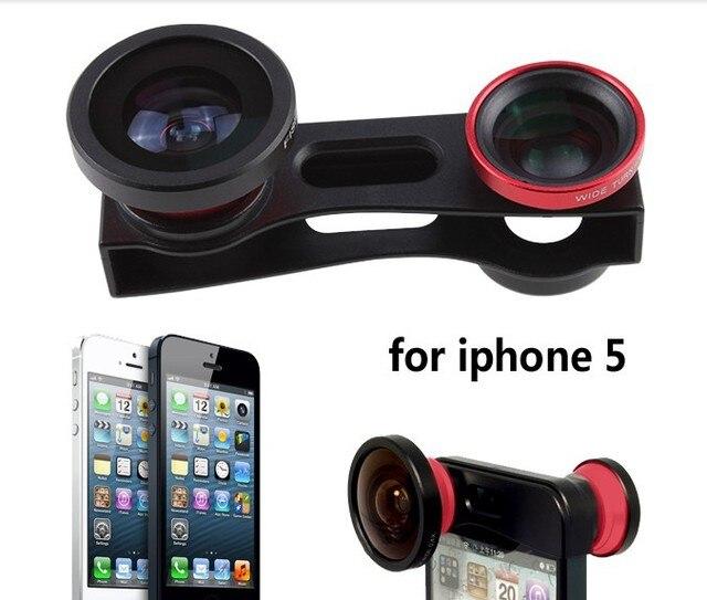 Vermelho de 180 graus Fisheye Lens + Lente Grande Angular + Lente Macro 3-em-1 kit preto para iphone 5 5s 5g para iphone5s frete grátis