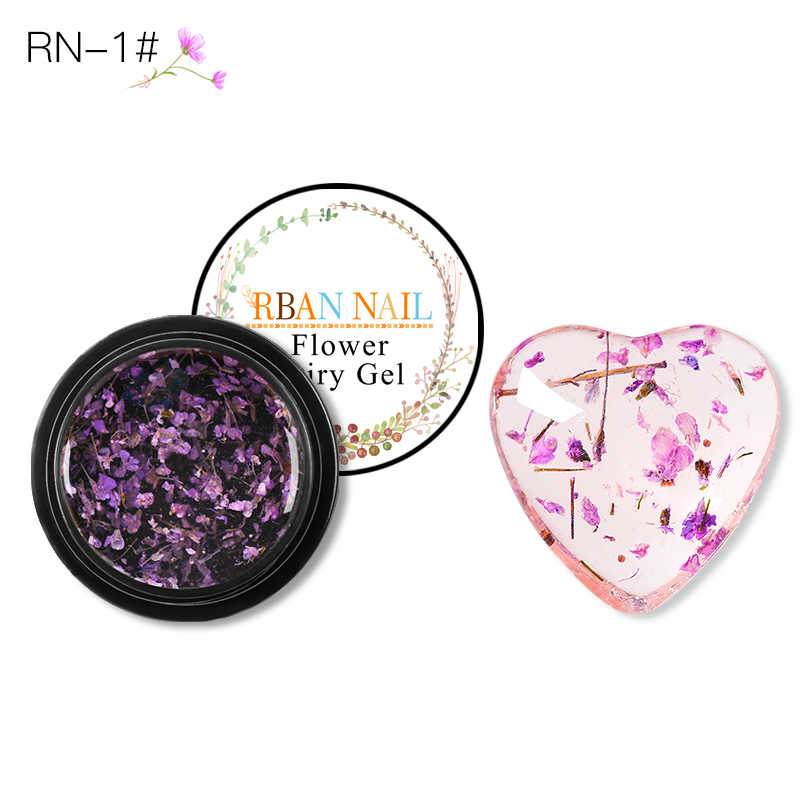 RBAN NAIL 5ML 3D DIY Natural Dried Flower Fairy Nail Gel Polish Floral Soak Off Manicure Tool UV Nail Art Gel Glue Varnish Decor