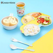 LANSKYWARE Cartoon Bamboo Baby Tableware Set For Kids Picnic Animal Pattern Dinnerware Kitchen Children Cutlery Dinner
