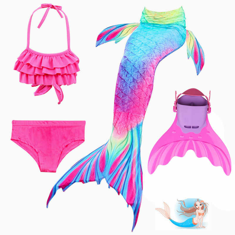 fdc88dafe0a3a Children Mermaid Tails With Monofin Fin Girls Kids Swimsuit Mermaid Tail  Bikinis Set Swimmable Costume for