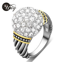 2015 recién llegado de Square Ring plateado platino / 18 K chapado en oro claro AAA suizo Cubic Zirconia Inlayed para mujer anillo