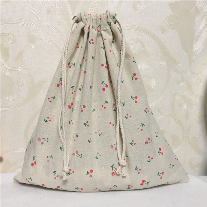 YILE 1pc Cotton Linen Drawstring Multi-purpose Organizer Travel Sorted Shoes Bag Red Cherry 8123c
