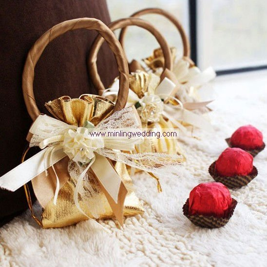 Wedding Gift Amounts: Free Shipping Gold Ring Handle Wedding Candy Box /Wedding