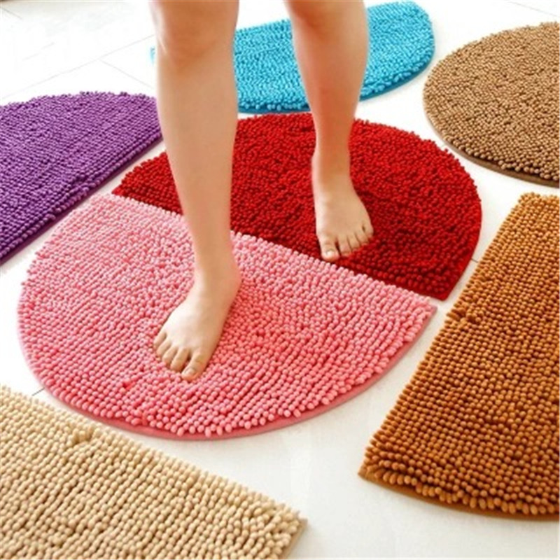 Half Round Style Door Carpet Anti Slip Proof Mats Bathroom Rugs For Living  Room Bathroom Circle Mat Kitchen Rug Solid Color B19