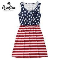 AZULINA Striped Summer Dress Women Sleeveless Patriotic American Flag Dress 2017 Beach Casual Mini Dress Vestidos