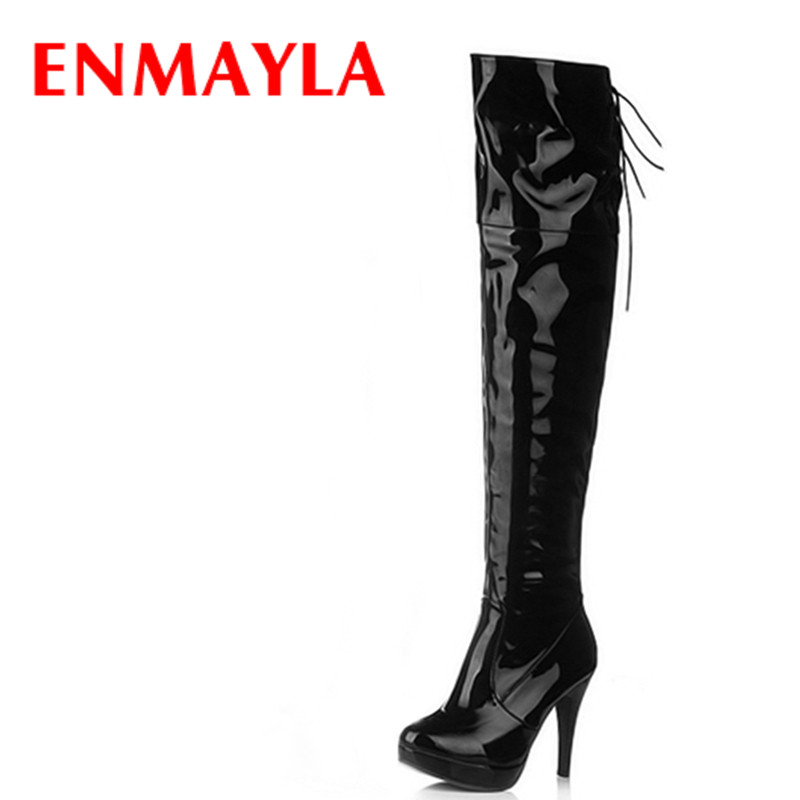 цены  ENMAYLA Autumn Tall Boots Over-the-knee Long Boots Women Platform Thigh High Boots Thin High Heels Sexy Red Bar Girls Boots
