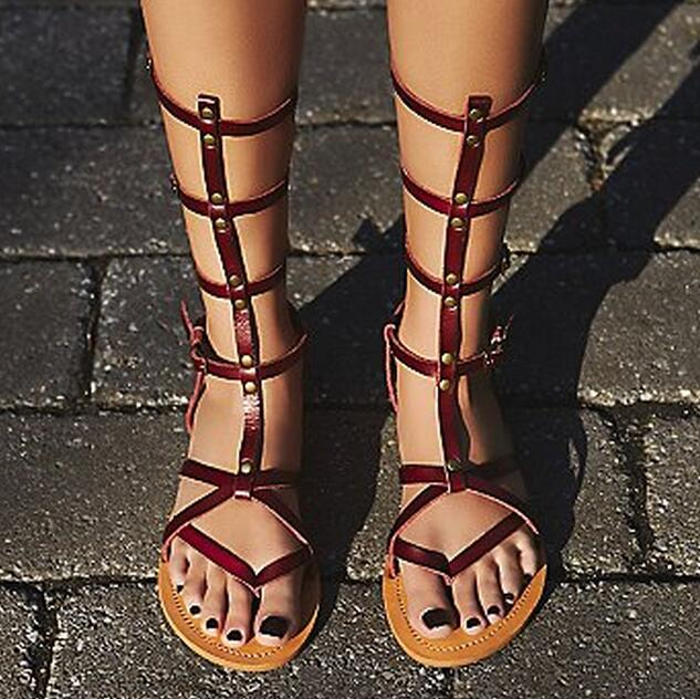 2017 Summer new flat sandal boots rivets studded black/wine red leather flat sandals buckle strap gladiator boots casual shoes коляска esspero summer line wine red sl010a 108068266